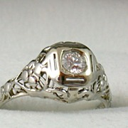 Vintage 18 K 0.33 CT Diamond  Filigree Solitaire Ring