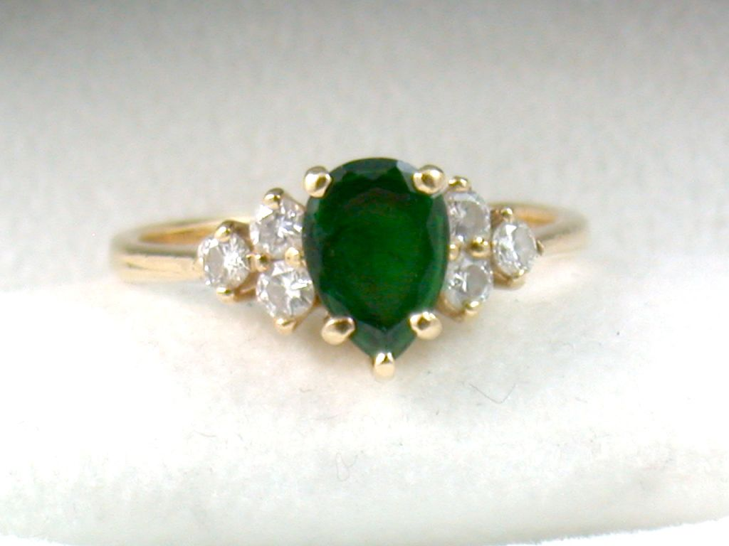 Estate 14K Tourmaline and Diamond Ring