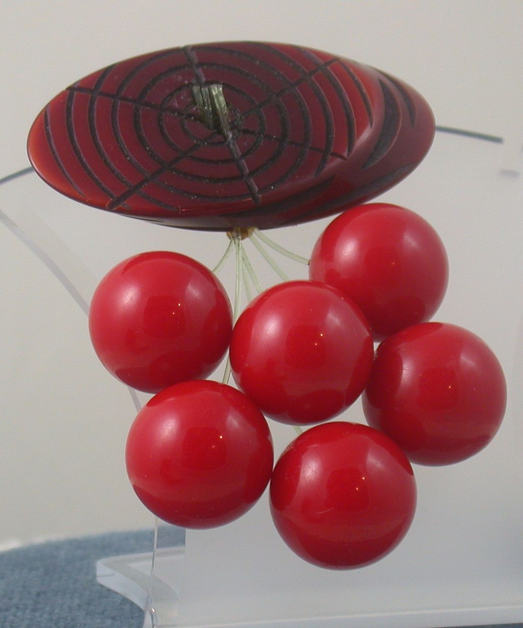 Vintage Bakelite Cherries Brooch