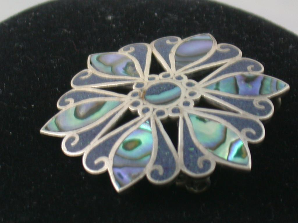 De Los Ballesteros Sterling and Abalone Brooch