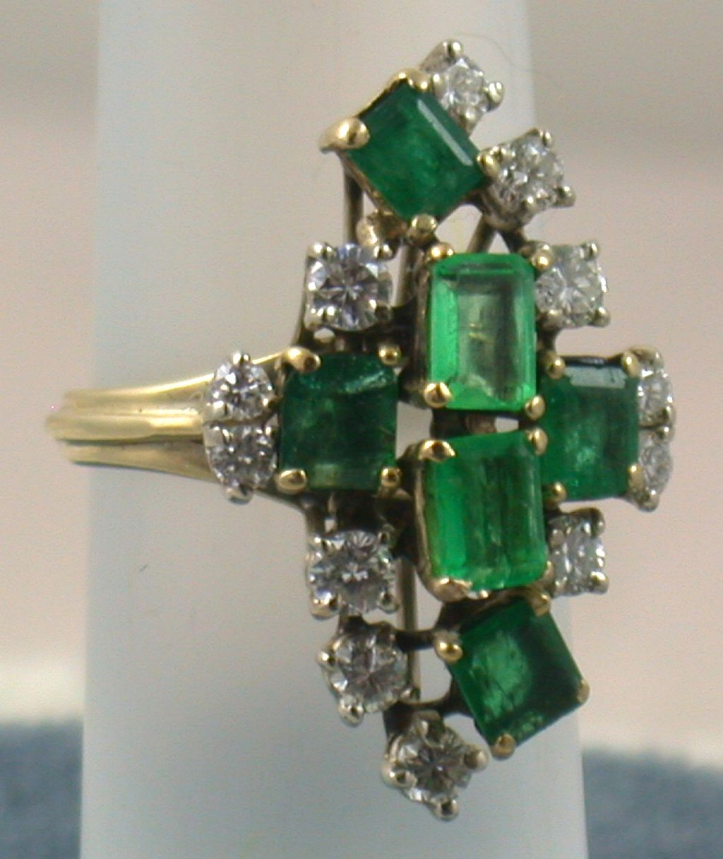 Estate 14K Emerald and Diamond Dinner Ring