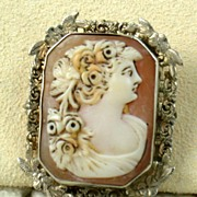 14KW Filigree Cameo Pin/Pendant