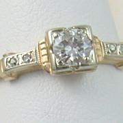 14K Deco 0.30 CT Diamond Ring