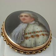 German Porcelain Hand Painted Gentleman Brooch
