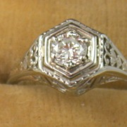 18K Filigree 0.52 CT Diamond Ring