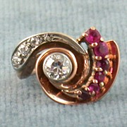 14K Retro Diamond and Ruby Ring