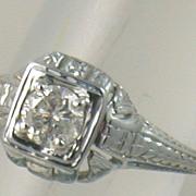 14K 0.40 CT Diamond Filigree Solitaire