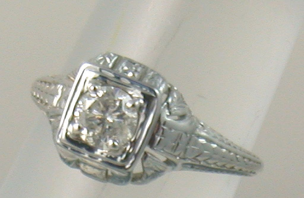 14K 0.40 CT Diamond Filigree Solitaire