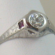 Estate 14K 0.38 CT Diamond and Ruby Filigree Ring