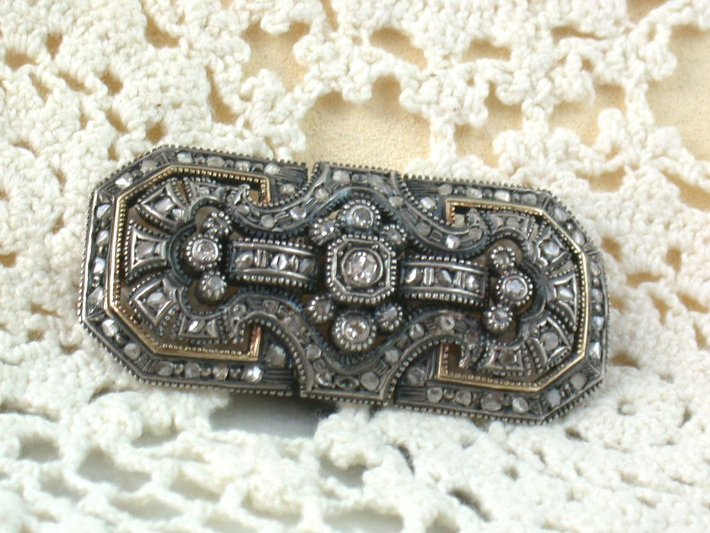 Estate 18K Blackened Sterling Rose Cut and Miner Diamond Brooch