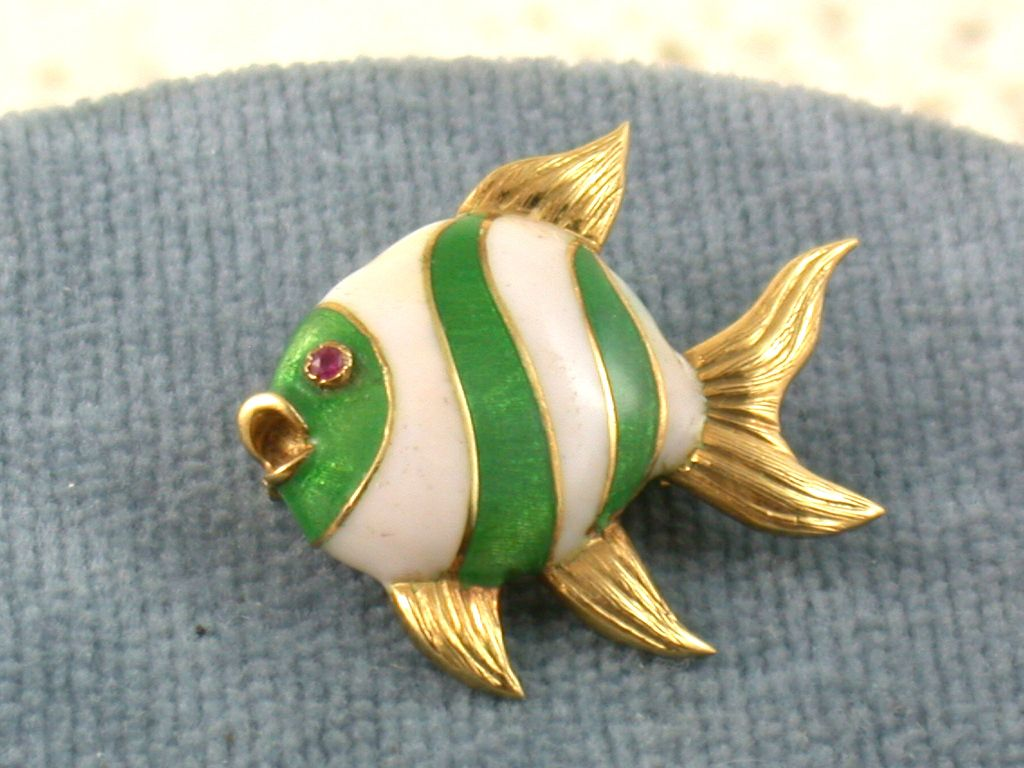 Estate Italian 18K Enamel Fish