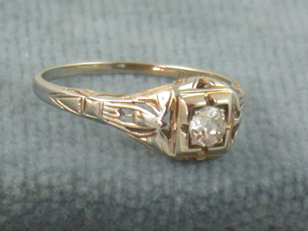 18KW 0.38 CT Old European Cut Filigree Ring