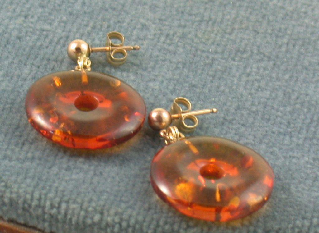 Estate 14K Amber Earrings