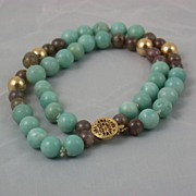 Natural Stone Bracelet with Agate and Amazonite Beads