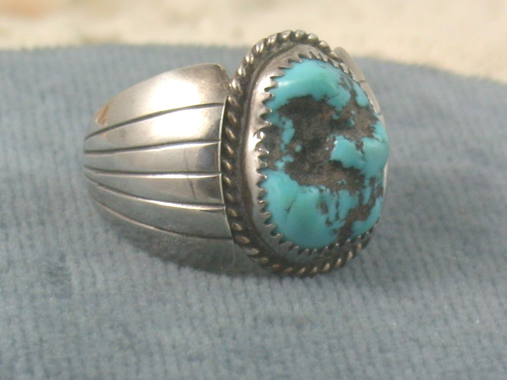 Estate Sterling Turquoise Gents Ring