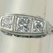 Estate Three Diamond Filigree Platinum Ring