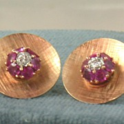 Estate 1950's 14K  Ruby and Diamond Earrings
