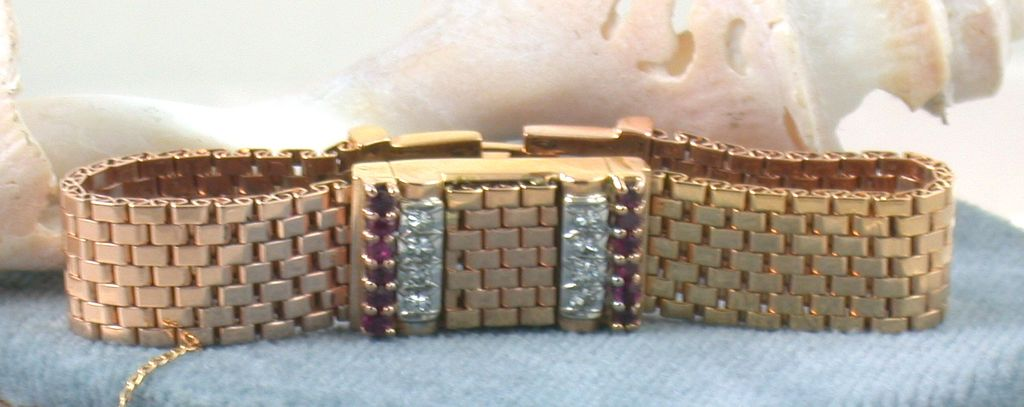 Estate 1940's Retro Ruby and Diamond Bracelet