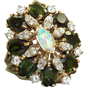 Estate 14K Tourmaline Diamond and Opal Princess Ring