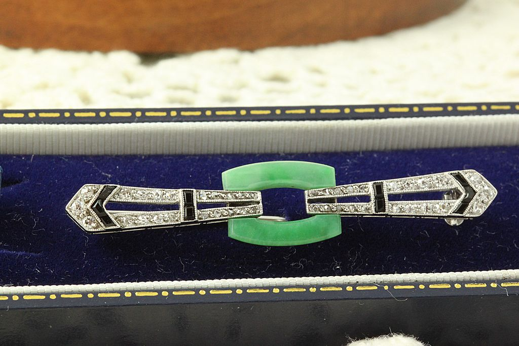 Platinum Deco Jade Diamond Onyx Brooch