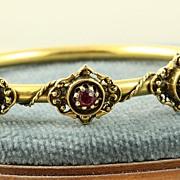 14K Etruscan Style 0.40 CT Ruby and Pearl Bangle
