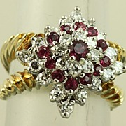 Estate 14K Ruby and Diamond Princess Ring