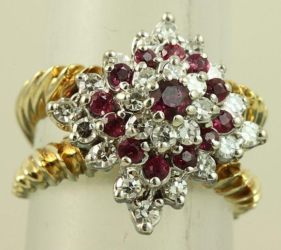 Estate 14K Ruby and Diamond Princess Ring