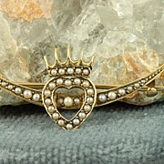 14K Seed Pearl Crescent Heart Pin