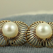 Estate 14K Deco Pearl Earrings