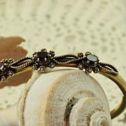 14K Etruscan Revival  0. 75 CT TW Garnet Bangle Bracelet