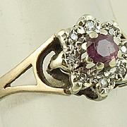 9K Ruby Diamond Ring