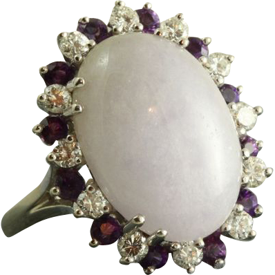 Estate 14KW Lavender Jade Diamond and Amethyst Ring