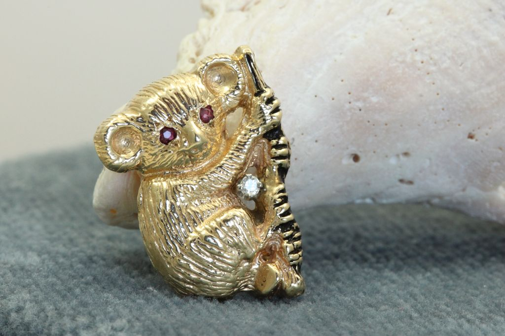 Estate 14K Ruby and Diamond Bear Pin