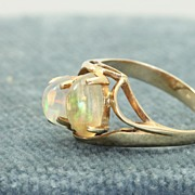 14K Double Opal Ring
