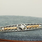 Krementz 14K Edwardian Filigree Diamond Pin
