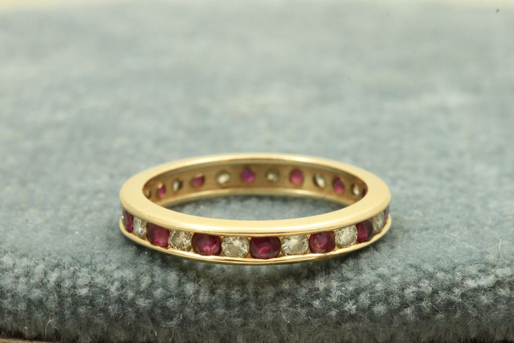 Estate 14K 1.30 CT Ruby and Diamond Eternity Band