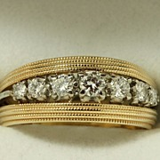 Estate 14K Jabel Triple Band with Diamonds