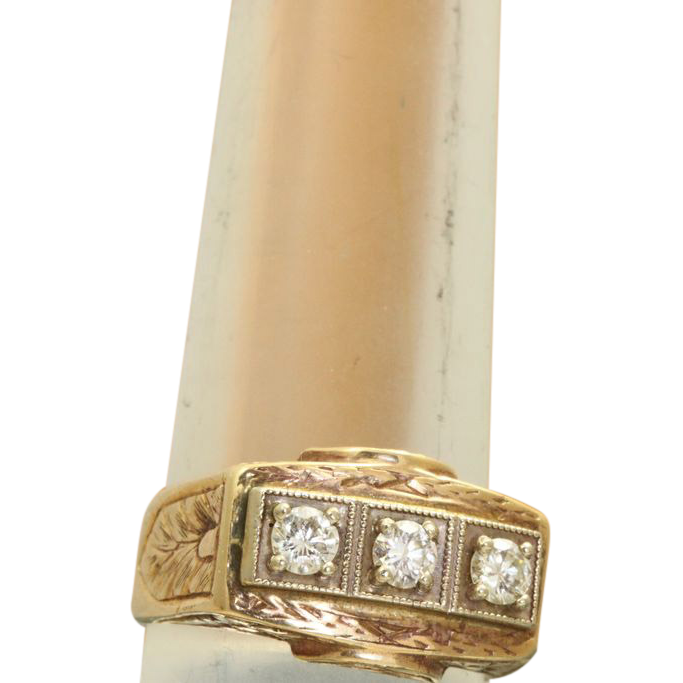 Estate 18K Hand Chased 0.60CT Diamond Ring