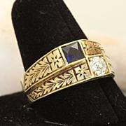 Estate Vintage 14K Rose Cut Diamond and Sapphire Ring