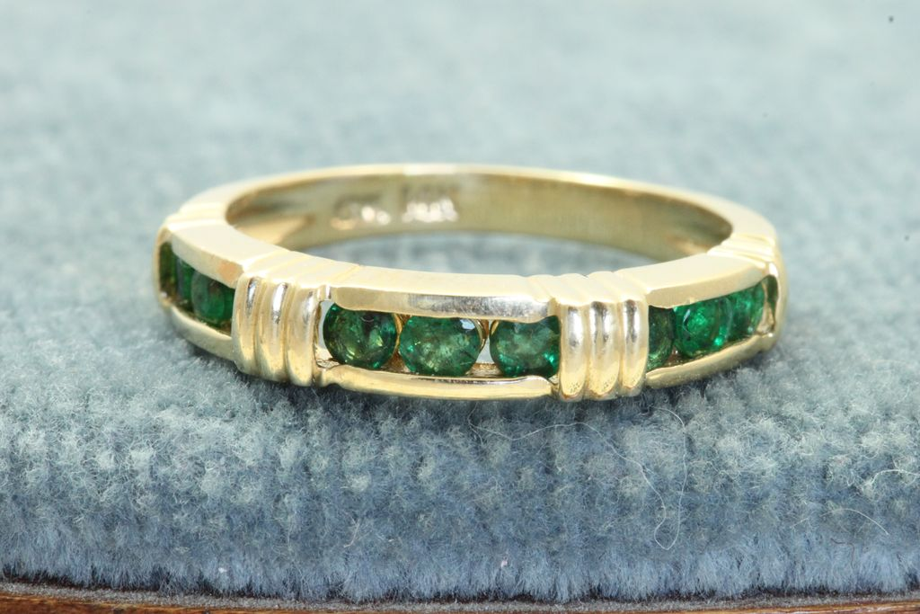 Estate 14K Emerald Band