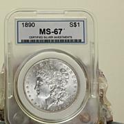 SALE MS 67 1890 Morgan Silver Dollar