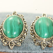 Estate Sterling Malachite Marcasite Earrings