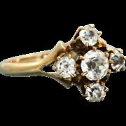 Estate 10K White Zircon Five Stone Ring