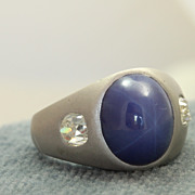 Estate 14KW Star Sapphire and Diamond Ring