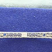 18K/Platinum Diamond Sapphire Filigree Bar Pin
