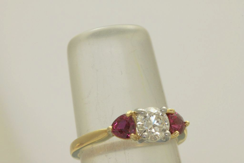 Estate 18K /Platinum 0.65 CT Diamond and  Ruby Ring