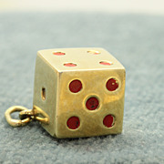 Estate 14K Dice Charm