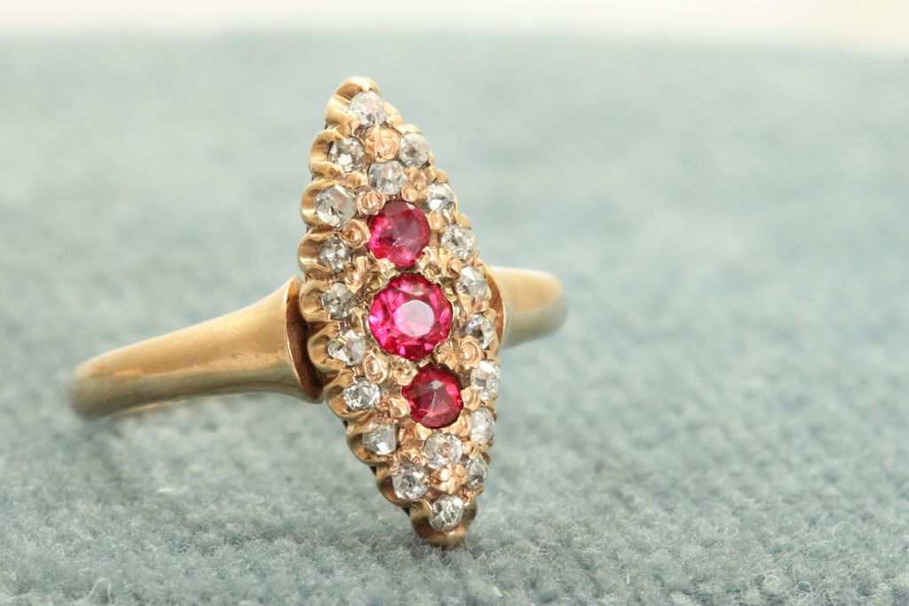 Early 12 C Rose Gold Red Stone and Old Mine Cut Diamond Ring from