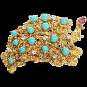 Estate 18K Diamond Turquoise Ruby Brooch