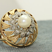 Estate 14K Diamond and Pearl Dome Ring
